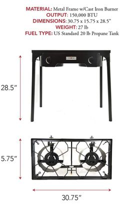 Portable Double Burner Propane High Pressure Outdoor Cooker Steel New Thumbnail