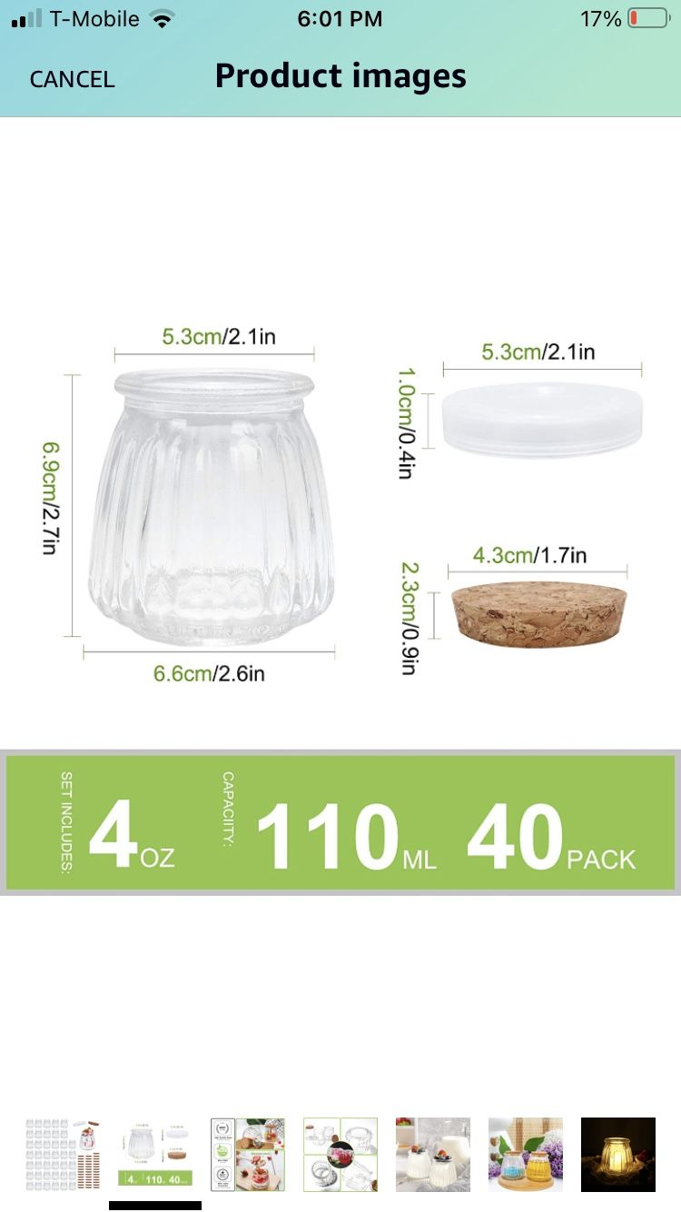 Mini Yogurt Jars 40 Pack, 4 oz Glass Pudding Favor Jars with Cork Lids and PE Lids, Glass Pudding jars, Glass Containers , Mason Jar Wedding Favors Ho