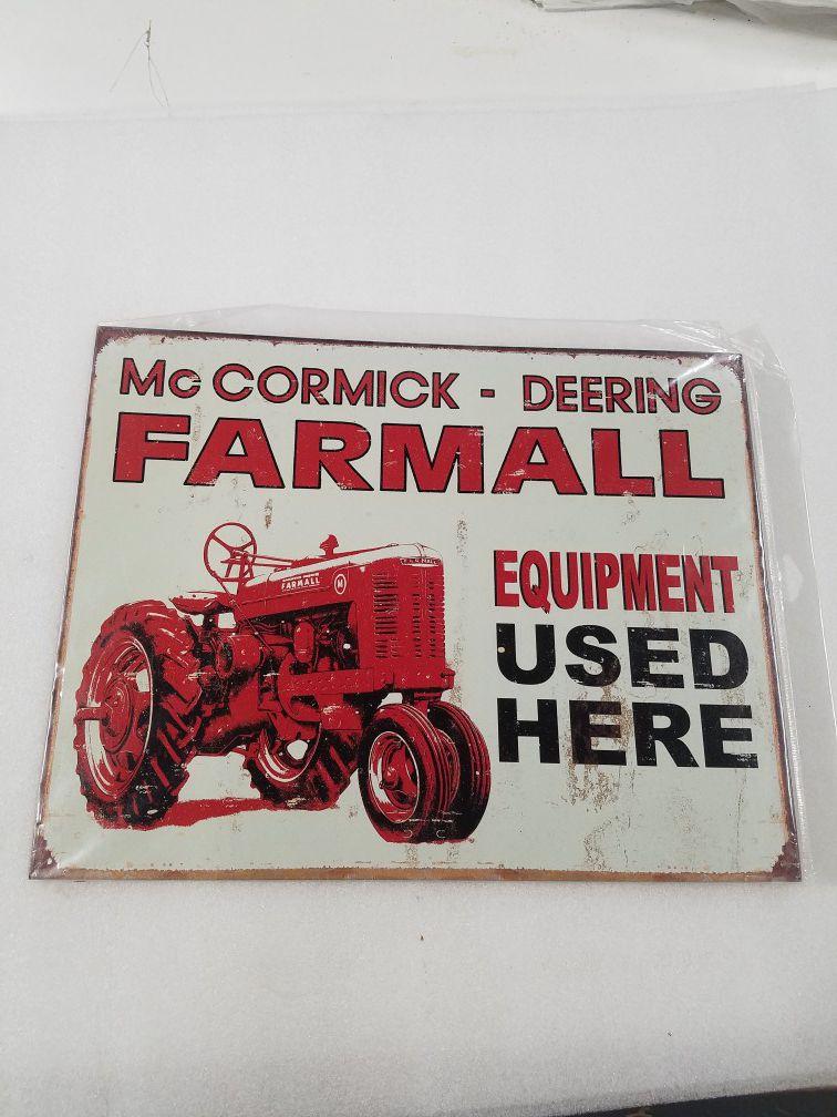 Farmall farm tractor equipment metal sign