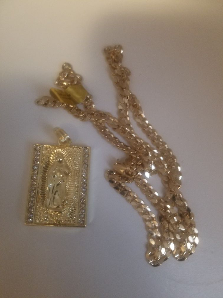 Necklace Men's gold-plated hip hop iced Brock Virgin Mary pendant