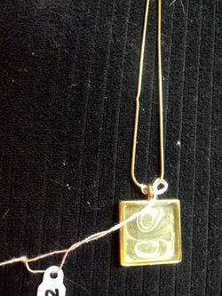 Hand painted green and pearl pendant on gold tone snake chain. Thumbnail