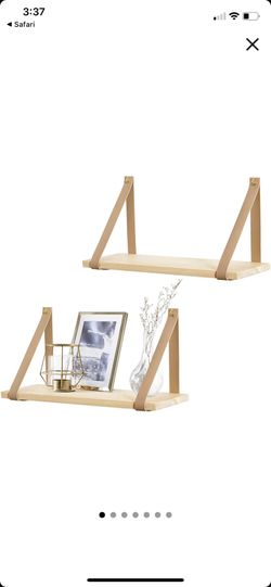 Mkono Hanging Shelf Wall Wood Floating Storage Shelves Leather Strap Swing Organizer Thumbnail