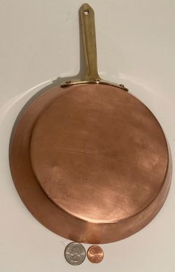 """Vintage Copper and Brass Frying Pan, Sauce Pan, 14 1/2"""" Long and 8"""" Pan Size, Made in Portugal, Quality, Eva Design, Cooking Pan, Kitchen Decor Thumbnail"""