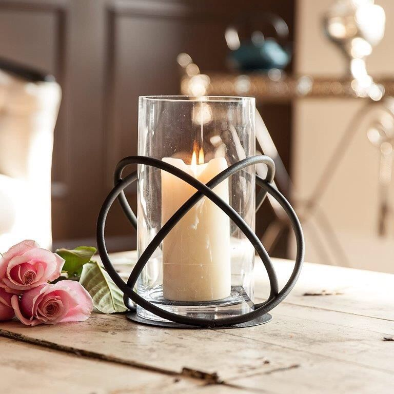 Large indoor outdoor Orbits centerpiece metal and glass hurricane vase candle holder