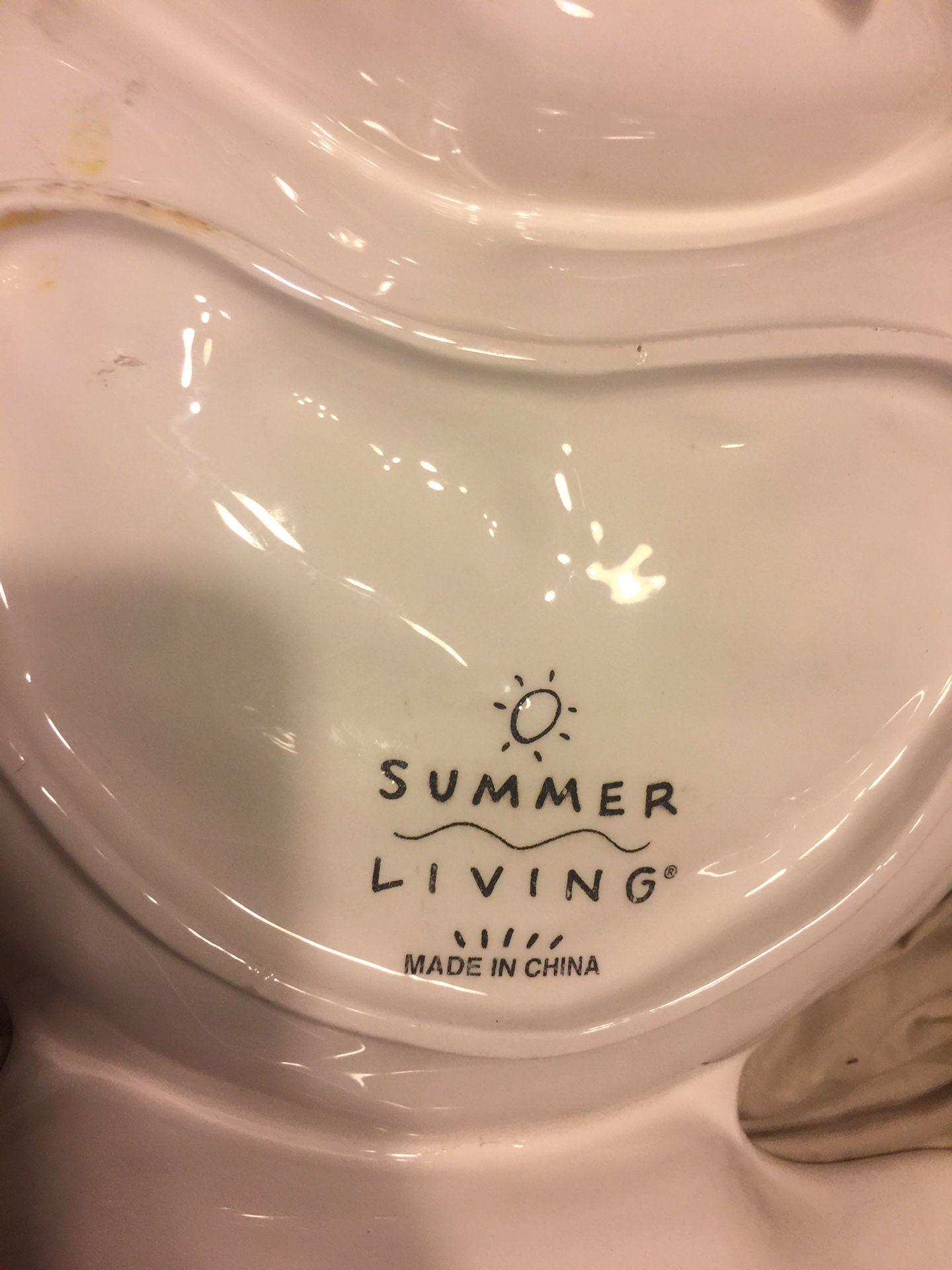 Summer Living Chip Dip Serving Dish Bowl fish