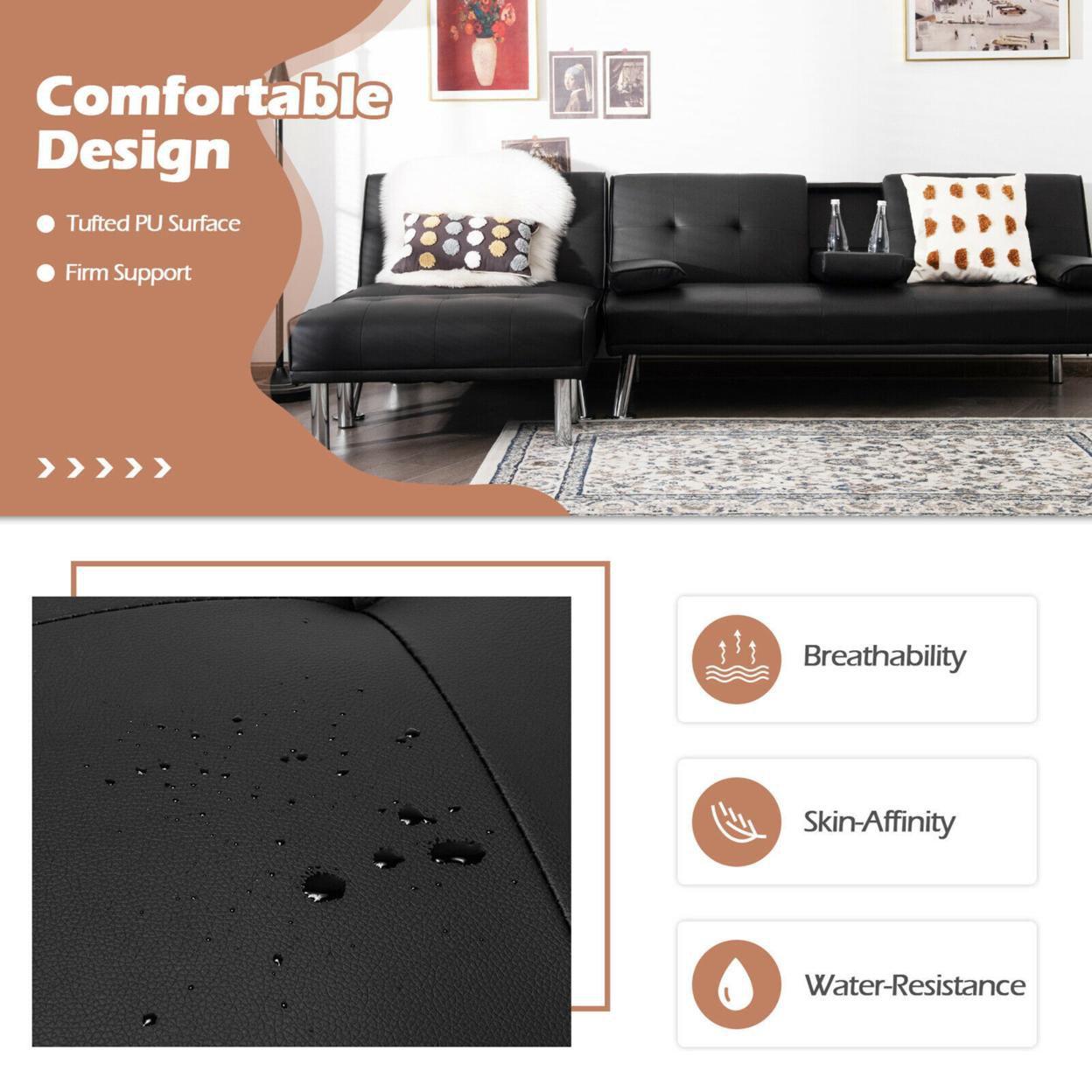 Gymax 3-Piece Sectional Sofa Set Convertible Futon w/Single Sofa & Ottoman Black