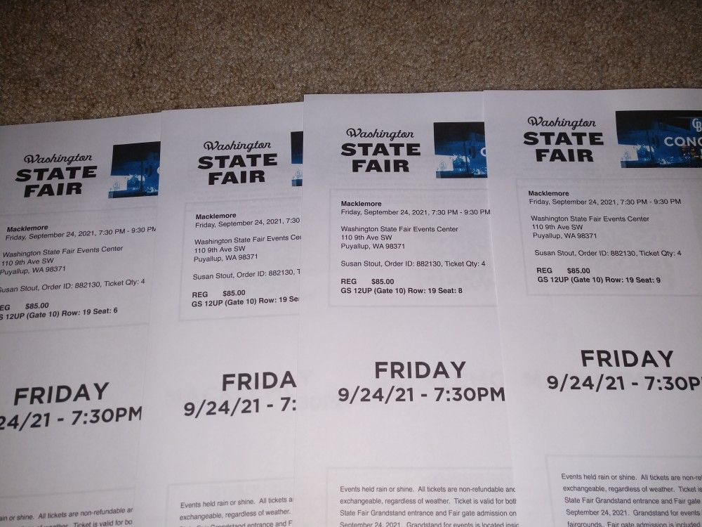 4 Macklemore Tickets WA State Fair 9/24