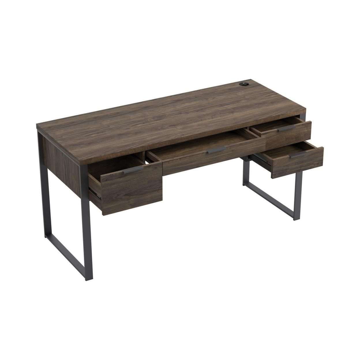 Wooden Writing Desk with 4 Drawers and Metal Base, Brown, Saltoro Sherpi