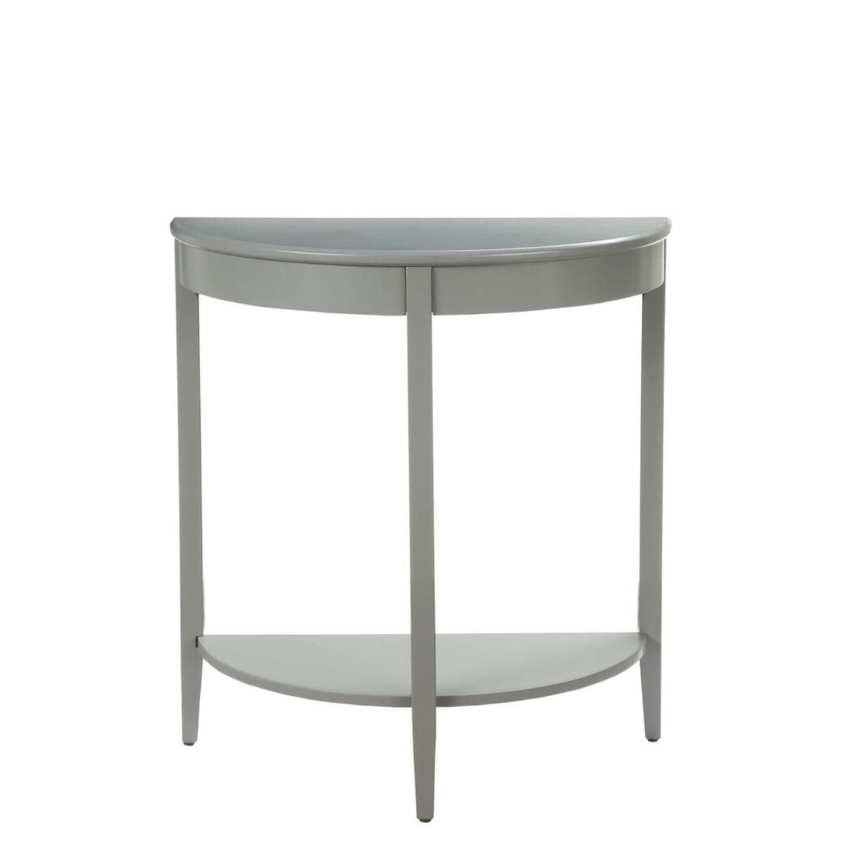 Saltoro Sherpi Wooden Half Moon Shaped Console Table with One Open Bottom Shelf, Gray