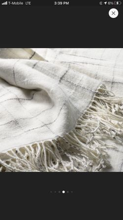 Checkered Fringe Throw Blanket Gray/Sour Cream -Hearth &  Hand  With Magnolia  Thumbnail