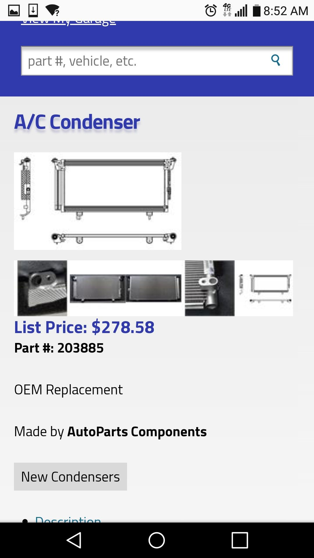 AC condenser for a Subaru Outback and Legacy