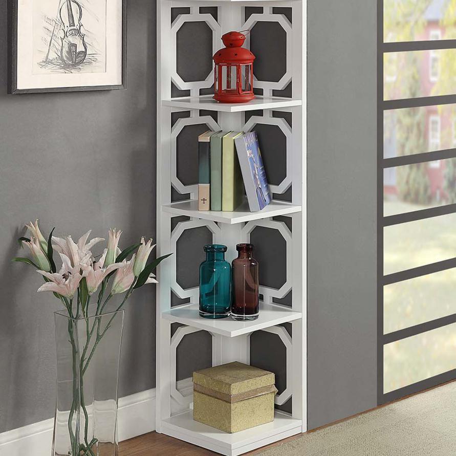Omega 5 Tier Corner Bookcase, White