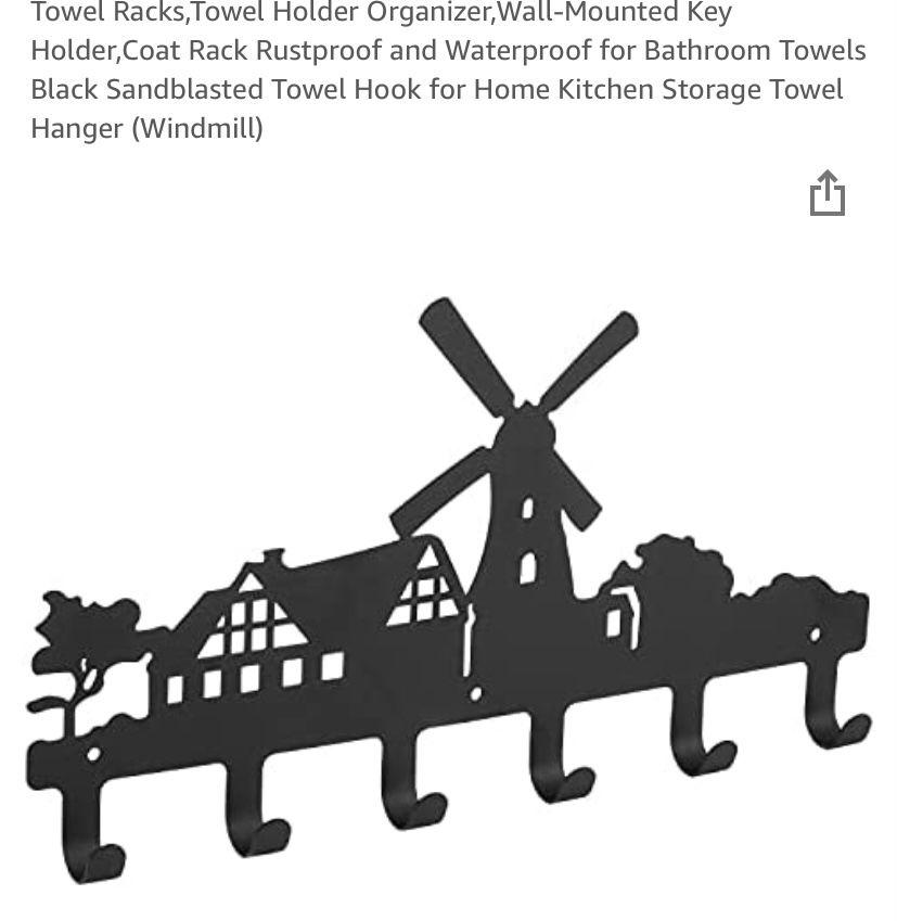 Tower rack organizer- wall mounted key holder,coat rack,kitchen towthanger