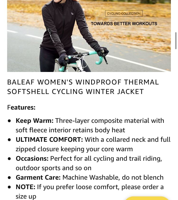 NEW! BALEAF Black Thermal Softshell Jacket XL