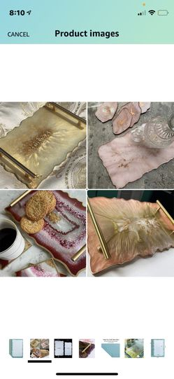 XL Resin Tray Molds With Gold Handles And Metallic Decoration  Thumbnail