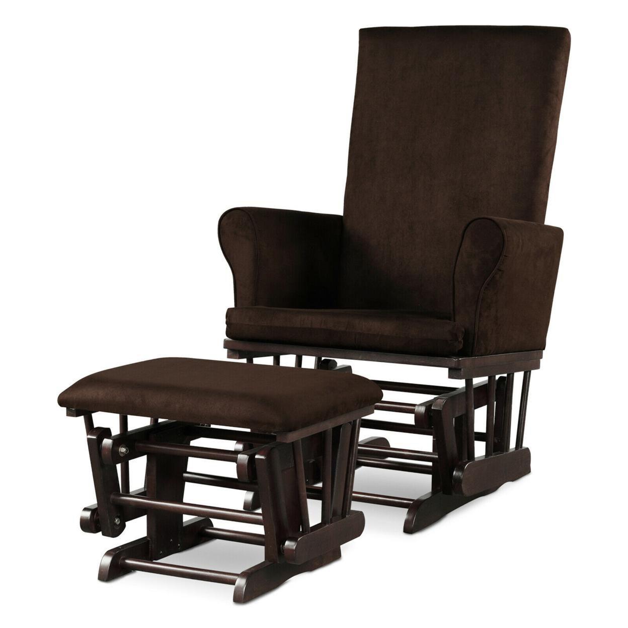 Gymax Glider and Ottoman Cushion Set Wooden Baby Nursery Rocking Chair