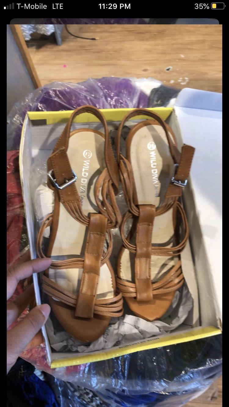 Tan Wedges/ Heels Size 7 1/2