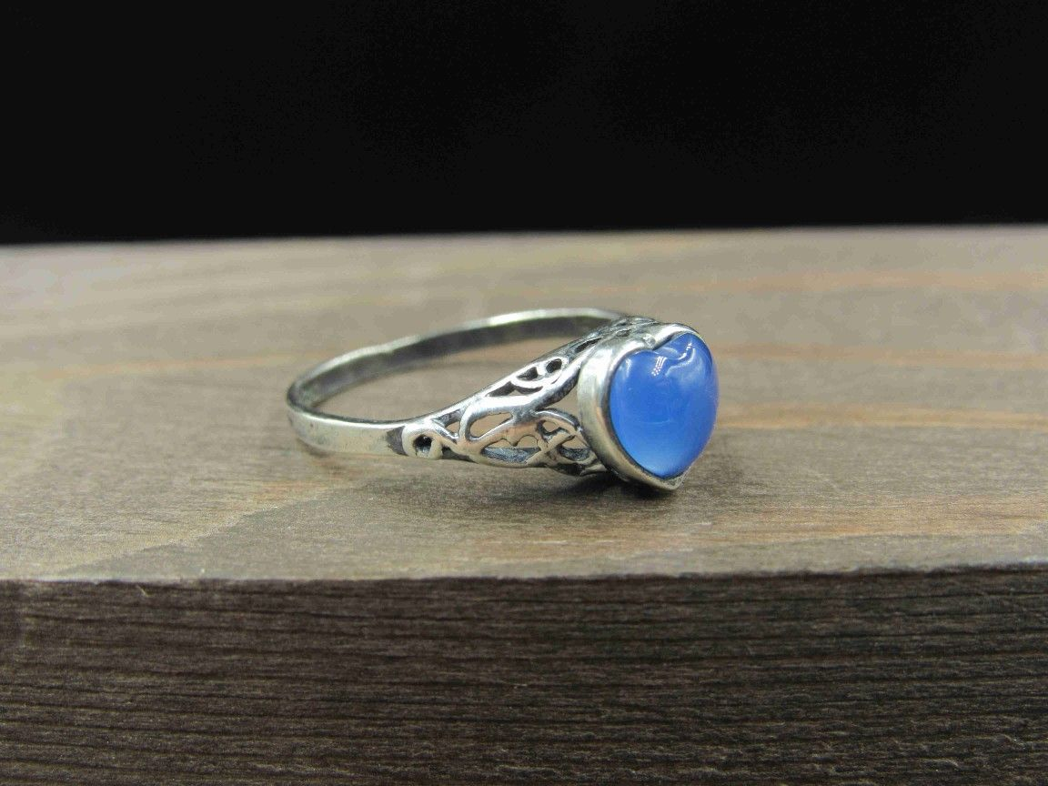 Size 6 Sterling Silver Blue Heart Filigree Band Ring Vintage Statement Engagement Wedding Promise Anniversary Bridal Cocktail Friendship