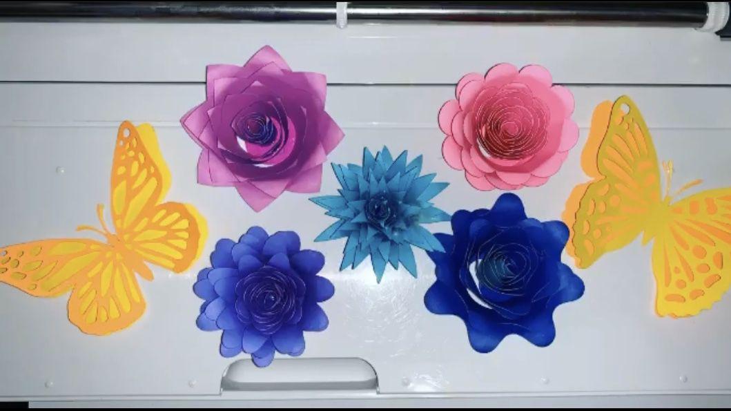 3D Paper Butterflies And Flowers