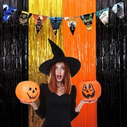 3 Packs Halloween Tinsel Foil Fringe Curtains Black Orange Gold with 8 Pcs Pull Flag Halloween Theme Party Supplies for Halloween Party Photo Backdrop Thumbnail