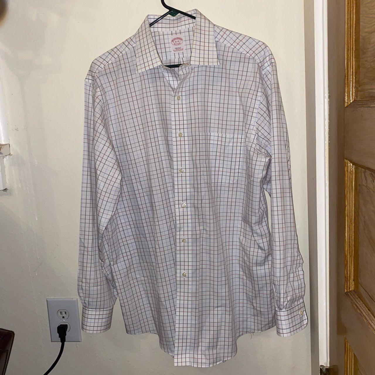Brooks Brothers White Plaid Dress Shirt