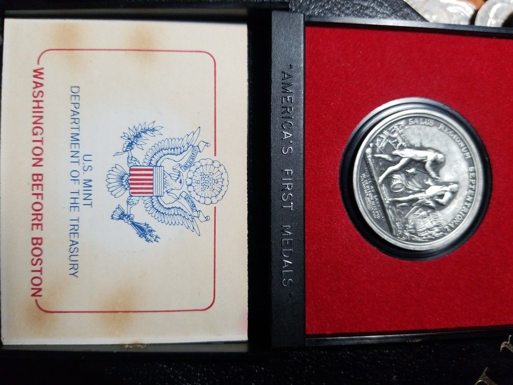 VINTAGE GENERAL HORATIO GATES PEWTER COIN AMERICAN FIRST MEDALS ORIGINAL / CASE