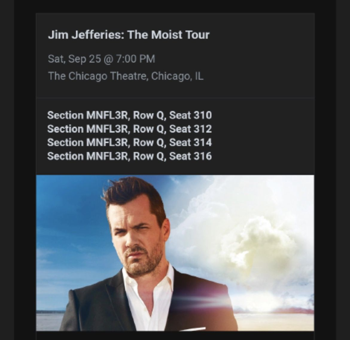 2 Tickets to Jim Jeffries comedy Show At The Chicago Theater