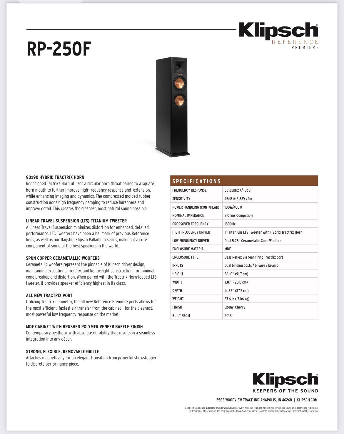 Klipsch RP-250F Floorstand Tower Speakers - Pair!