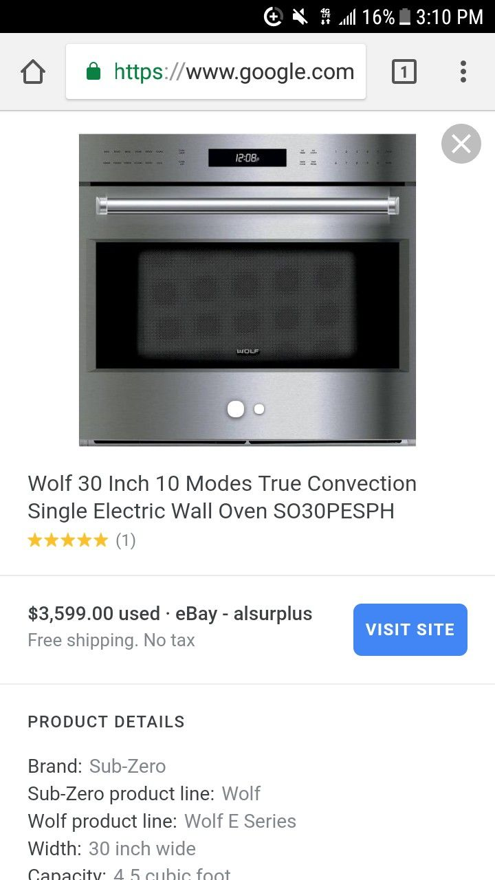 New wolf convection oven