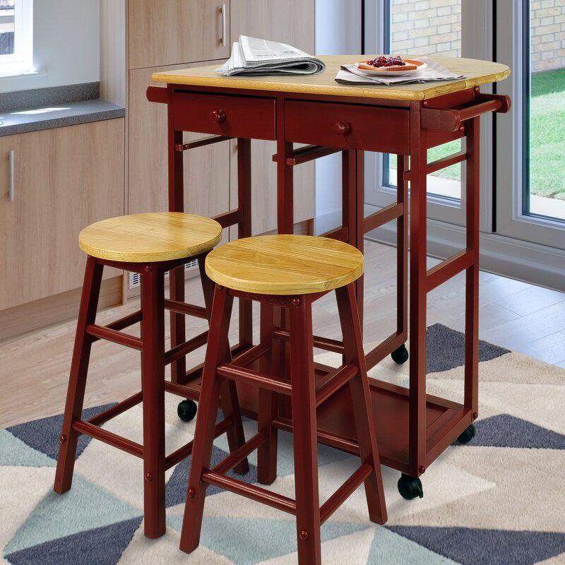 Stylish And Sophisticated 3 Piece Kitchen Island Set