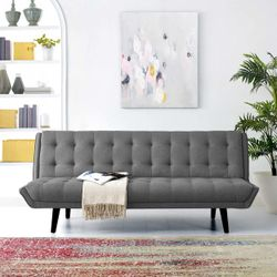 Glance Tufted Convertible Fabric Sofa Bed (3093-GRY) Thumbnail