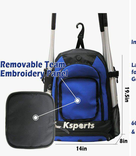Baseball Bag Blue- Backpack for Baseball, T-Ball & Softball