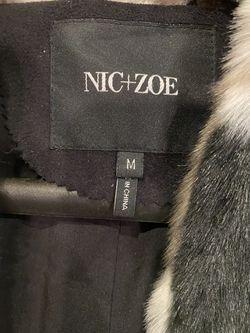 NIC+ZOE Women's Black/Taupe/White Zig-Zag Faux-Fur Vest M NWT $248 Thumbnail