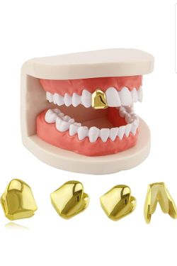 1 piece 14k plated gold Grillz single grill cap Hip hop to tooth Thumbnail
