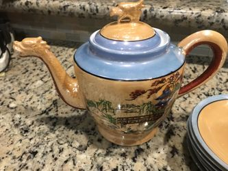 Antique dragon head tea pot and saucers. Asian oriental. Thumbnail