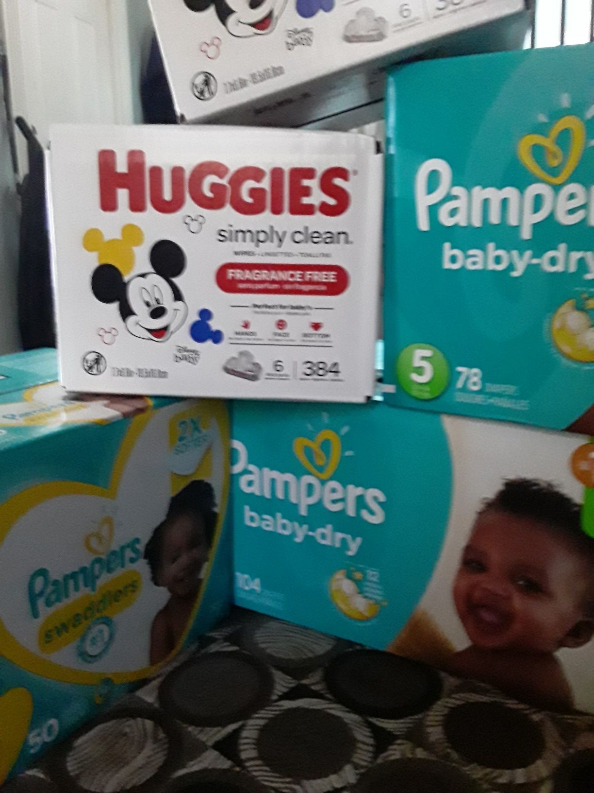 Pampers and huggies wipes...$80
