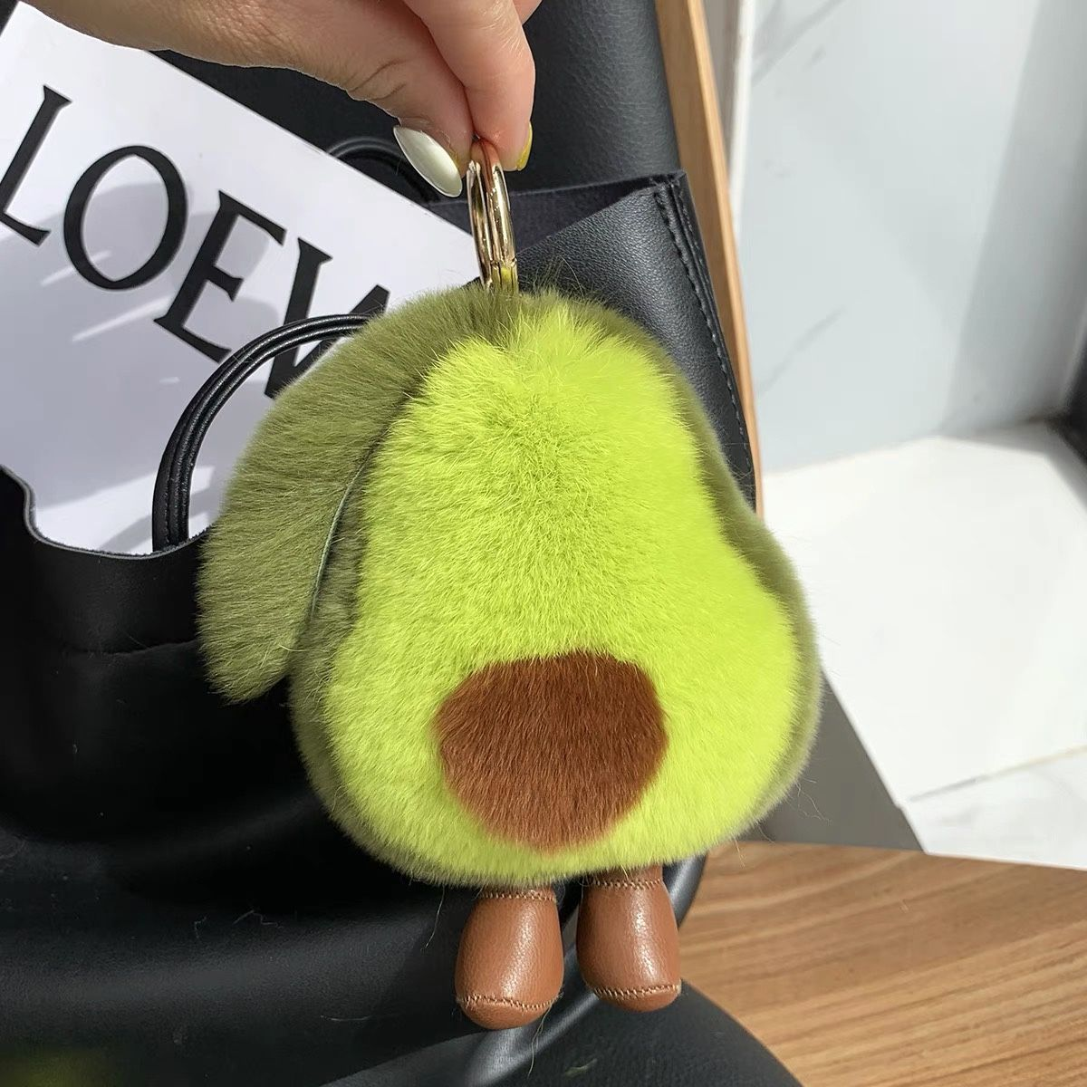 Rex Rabbit Fur avocado Keychain Bag Hangings