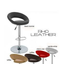 """Set of 4 Modern Home Rho """"Leather"""" Contemporary Adjustable Height Counter/Bar Stool (Vanilla White) Thumbnail"""
