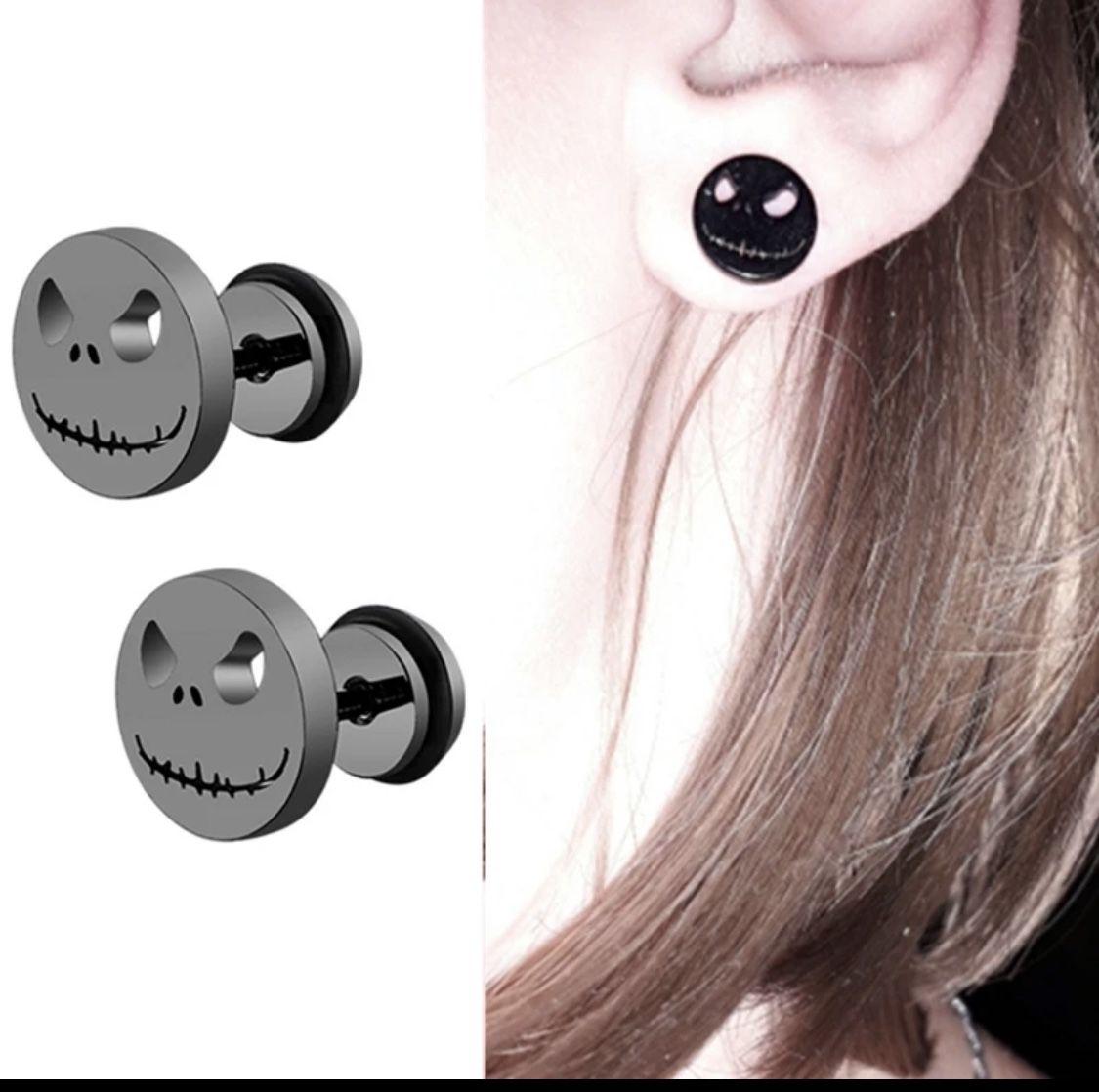 3 Pairs Jack Skellington Nightmare Before Christmas Stud Earrings Black Silver Gold