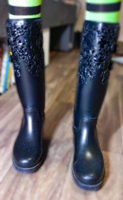 Melissa Black Rubber Rain boots Size 10. Thumbnail