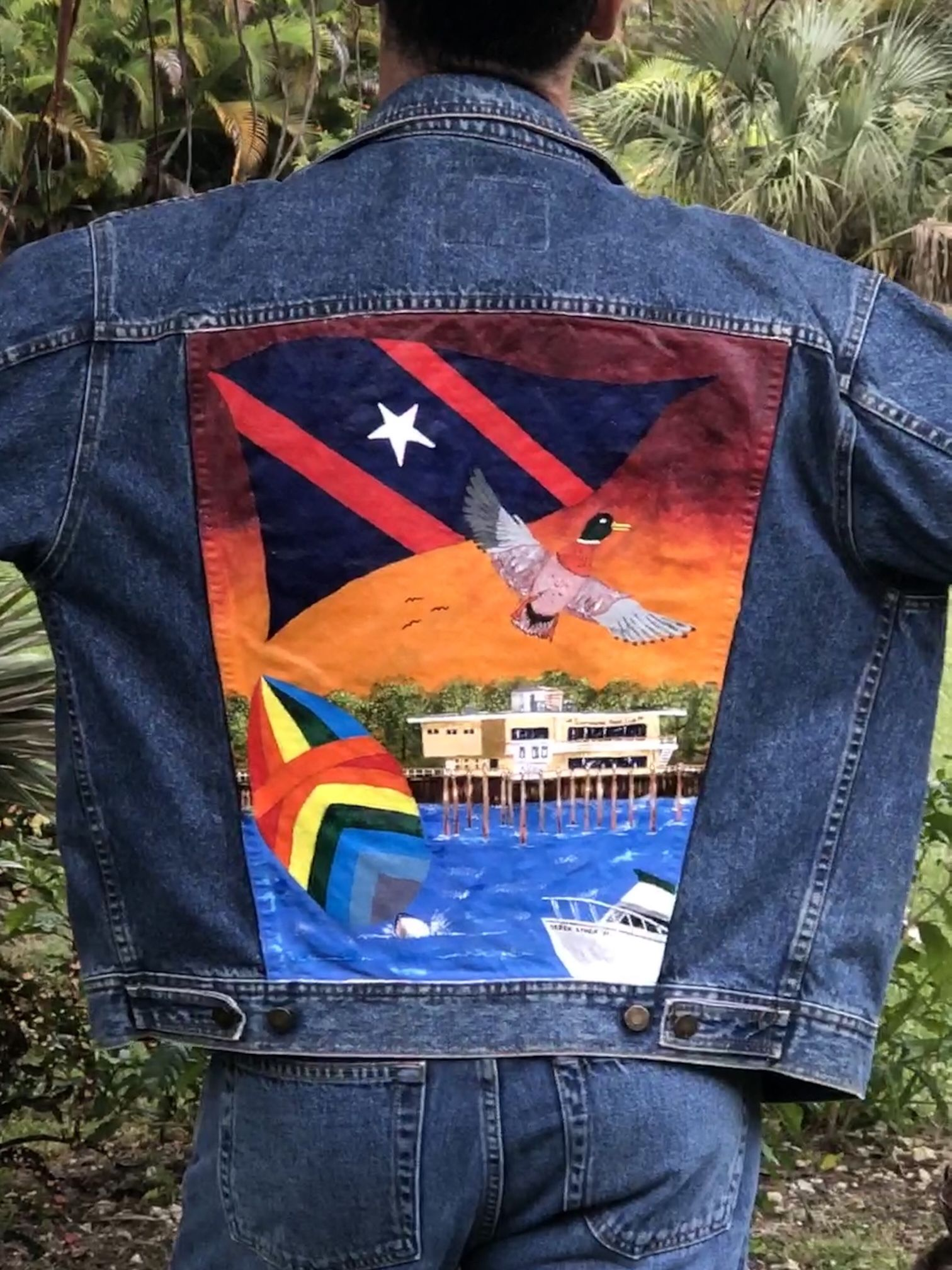 One-of-a-kind handpainted denim jacket + 2 pair matching boot cut jeans