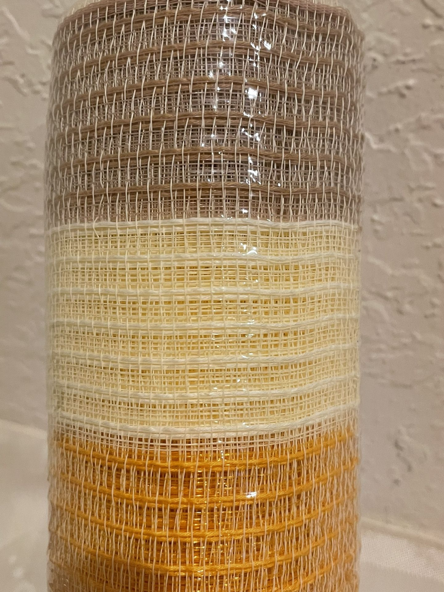 "10"" DECO MESH Tan, Tangerine & Cream STRIPE Woven Poly  10""W X 30Ft (10yards)"
