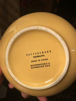 Pottery Barn Sausalito Amber Yellow Tea Pot with Bamboo Handle Thumbnail