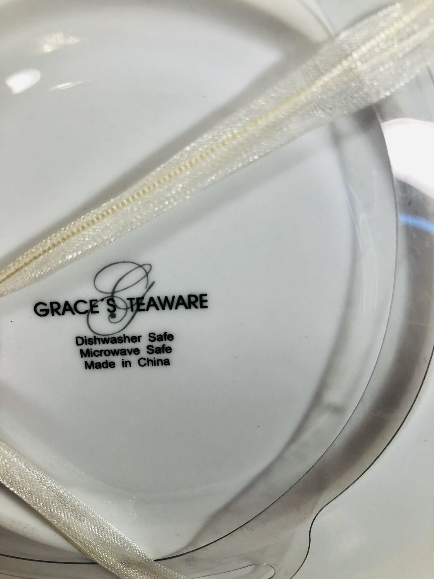 """Grace And Teaware Letter """"A"""" Cup and Saucer Set White"""