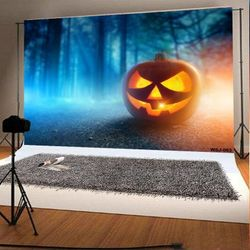 7x5ft Scared Halloween Photo Backdrops Haunted Pumpkin Pitch Dark Forest Photo Booth Props Thumbnail