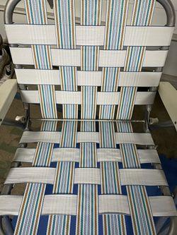 Vintage Aluminum Webbed Chairs (Pair) - White Stripes Thumbnail