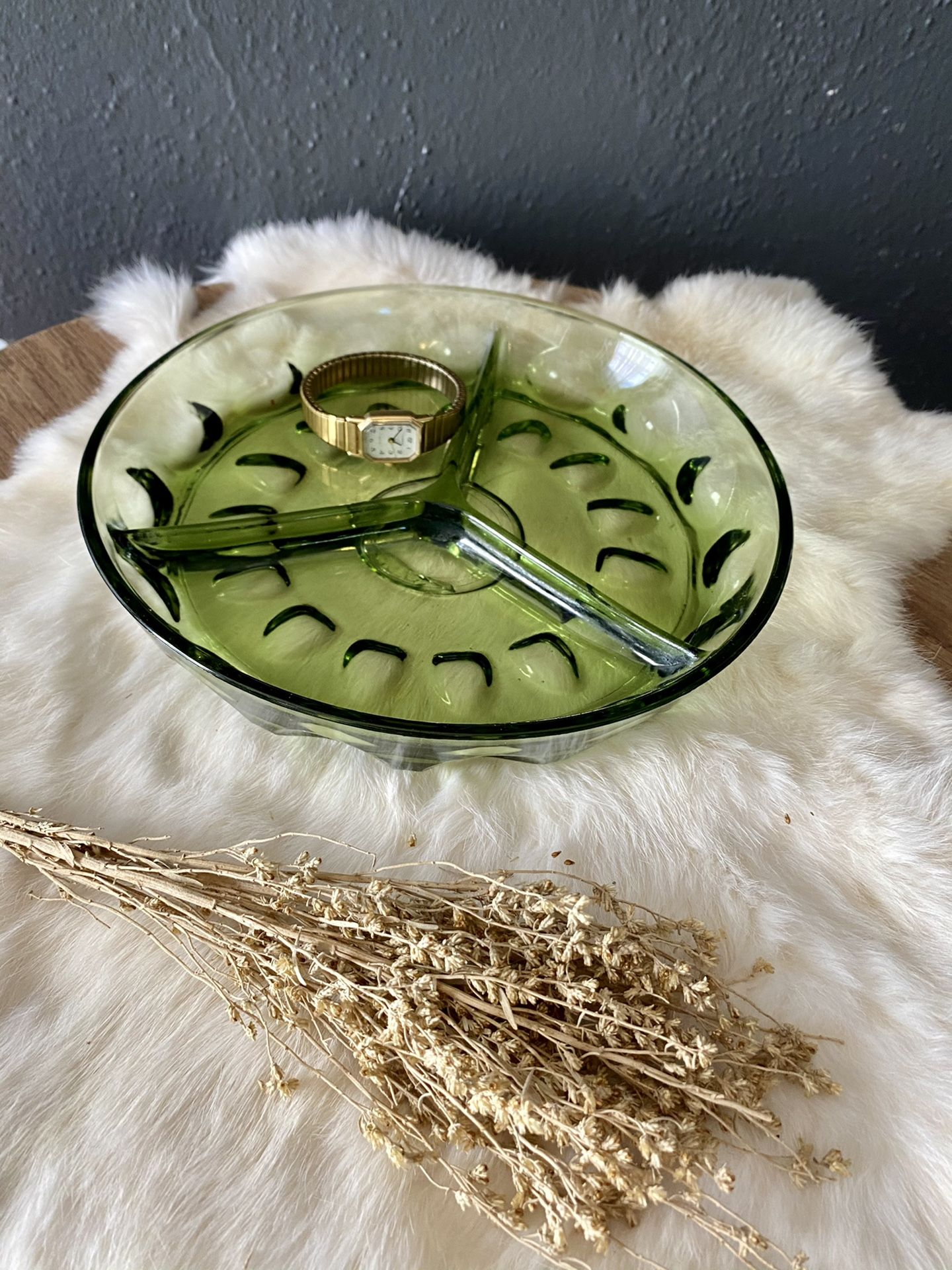 Green glass serving or catch all dish