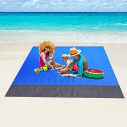 Beach Blanket Sandproof, 79''×83'' Waterproof Beach Mat for 5-6 Adults, Quick Drying Picnic Blankets Thumbnail
