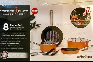 Copper Chef Cookware 8-Pc. Cookware This Aluminum and Steel with Ceramic Non-Stick Coating Cookware Set, Includes Lids, Frying and Roasting Pans A Thumbnail