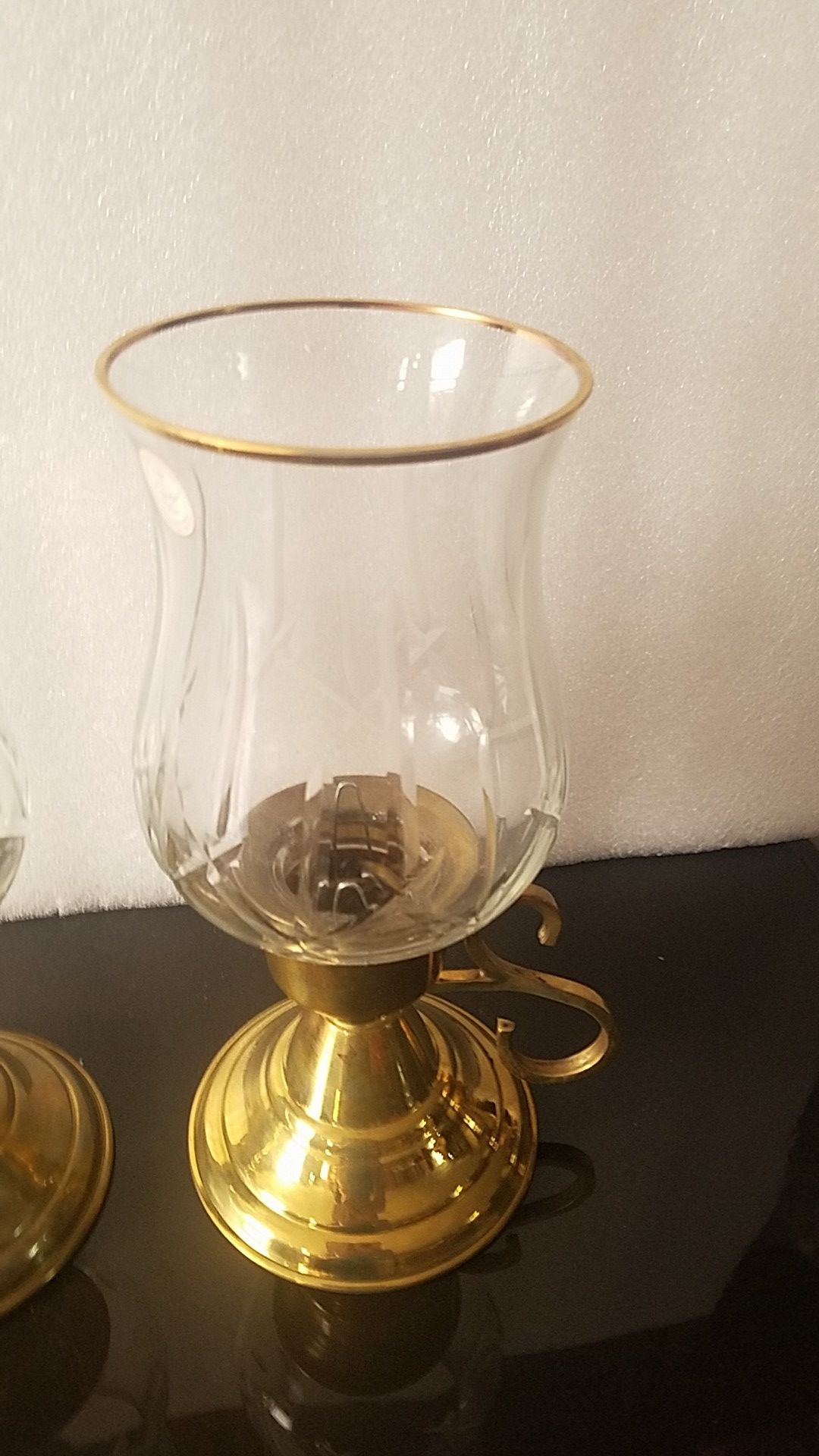 Brass and Crystal Candle Holder